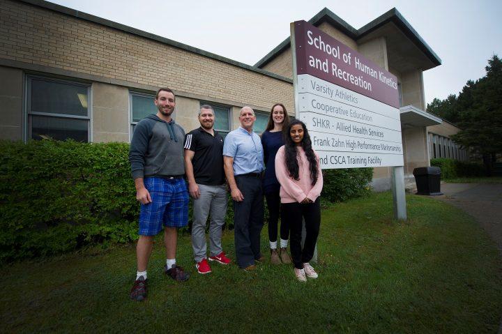 From left are Dan Hodgson, Jonathan Reid, Dr. David Behm, Rebecca Greene and Nehara Herat.