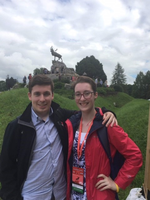Katie Cranford and her friend Alexander at the Caribou Memorial in Beaumont-Hamel.