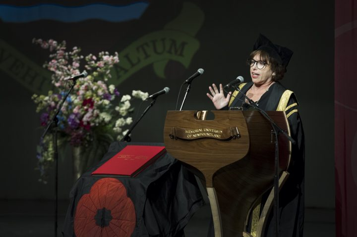 Dr. Noreen Golfman during Memorial's matriculation ceremony.