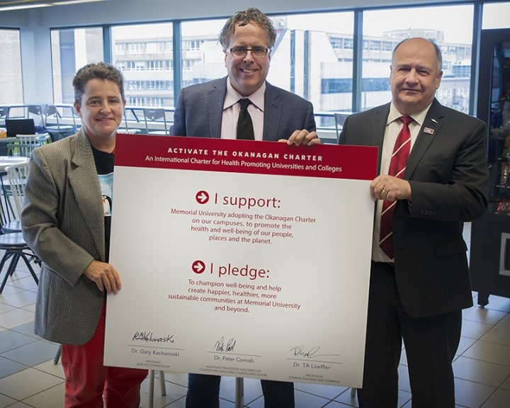 From left, Dr. TA Loeffler, Dr. Peter Cornish and Dr. Gary Kachanoski with the signed Okanagan Charter.