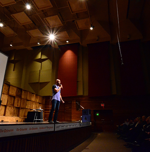 Comedian Trent McClellan performs at the MUNdays comedy show at the School of Music.