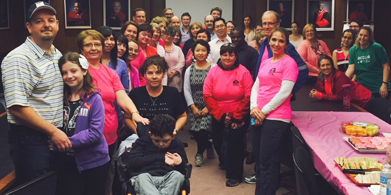 Engineering faculty and staff gathered with family, friends and former colleagues for the walk in memory of Diane Coffin.