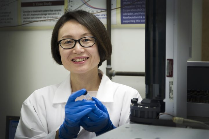 Dr. Helen Zhang in her lab in the Faculty of Engineering and Applied Science.