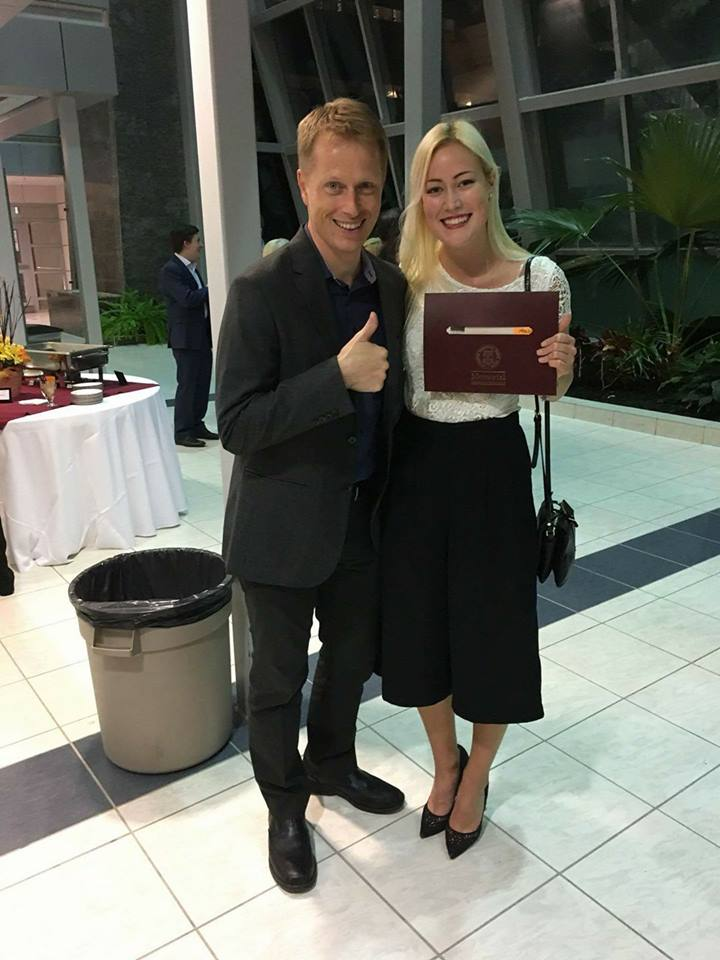 From left, Dr. Alex Marland and Heaslip winner Mira Raatikainen.