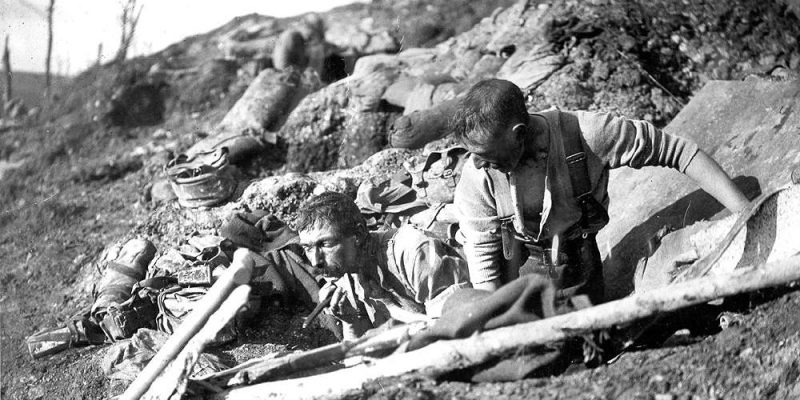 Soldiers shaving in trenches, November 1916