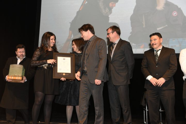 Dr. Trevor Bell, second from right, with SmartICE partners during the Arctic Inspiration Awards ceremony.