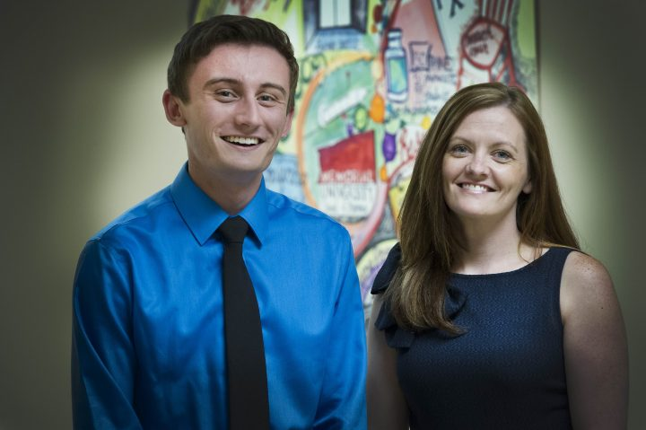 From left, Jeremy McDonald, Class of 2017, received funding from Teva Canada to work with Dr. Tiffany Lee in the 2016 School of Pharmacy Summer Research Program.