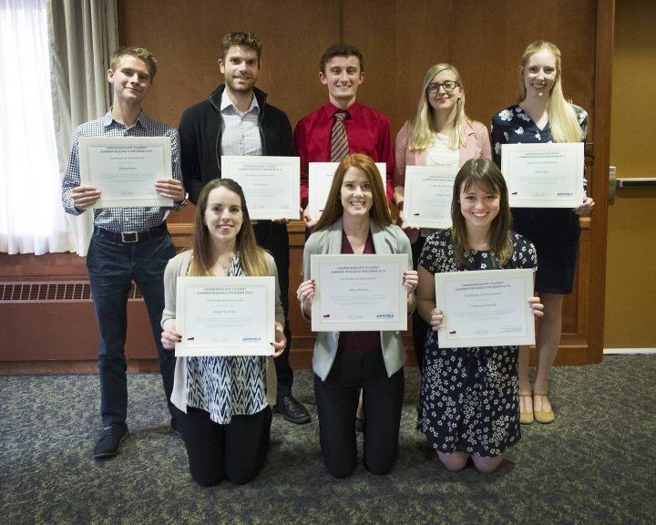 2016 Summer Research Program participants are, from left, back row, Steven Rowe, Scott Unruh, Jeremy McDonald, Caitlyn Walsh and Maria Flynn, and from left, front row, Robyn St. Croix, Jillian McInnis and Catherine Grandy.