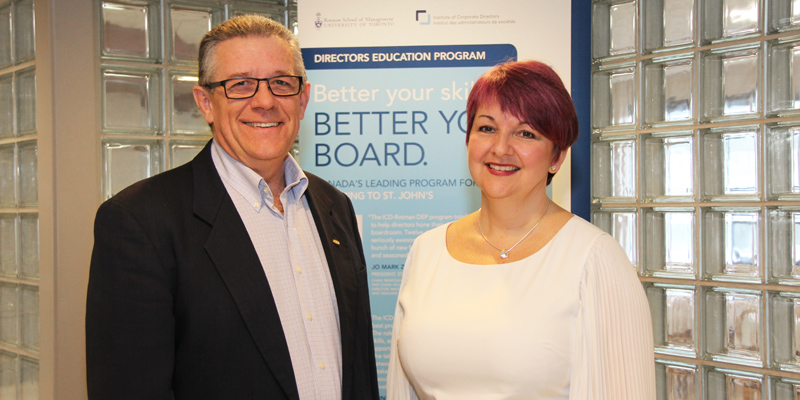 Brian Hurley, left, Gardiner Centre director, and Karen McCarthy, participant in the Directors Education Program.
