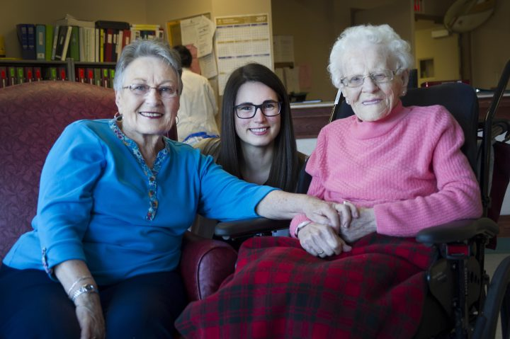 From left are Beverly Noftall, pharmacy student Tiffany Tozer and Mary Stokes. Ms. Stokes, a resident of St. Pat's Mercy Home, is Ms. Noftall's mother.