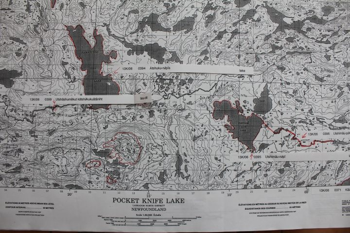 An example of a map used in validating the place names collected from Innu elders. The Innu name of Portage Lake, pictured in the lower right-hand side, is Utshimau-nipi, translated as Great Lake. It is located on the ancient travel route from North West River/Sheshatshiu to Meshikamau (Michikamau Lake) in the interior of Labrador. Utshimau-nipi is about 100 kilometres north of Happy Valley-Goose Bay.