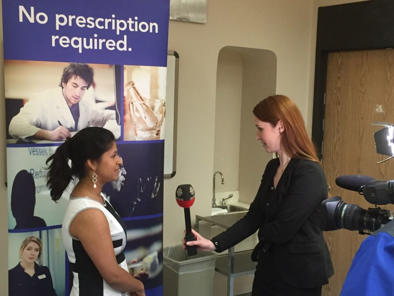 From left, Michelle Debnath, a 2016 Snappy Synopsis contestant, speaks to the CBC's Carolyn Stokes following her presentation.