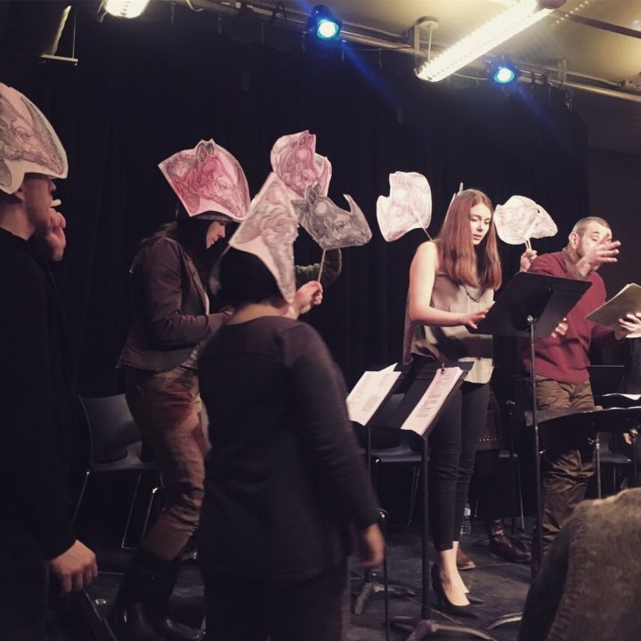 The 48 Months of Finasteride cast read Rhinoceros at the LSPU Hall in St. John's.