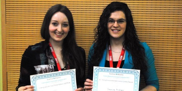 From left are Heather Spicer and Jasmine Pinksen, environmental science students at Grenfell Campus.
