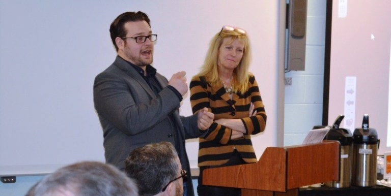 From left, Nathan Dennison, N.S. Business Inc.., and Ellen Farrell, St. Mary's University, provide an overview of the Atlantic Entrepreneurship Ecosystem's project.