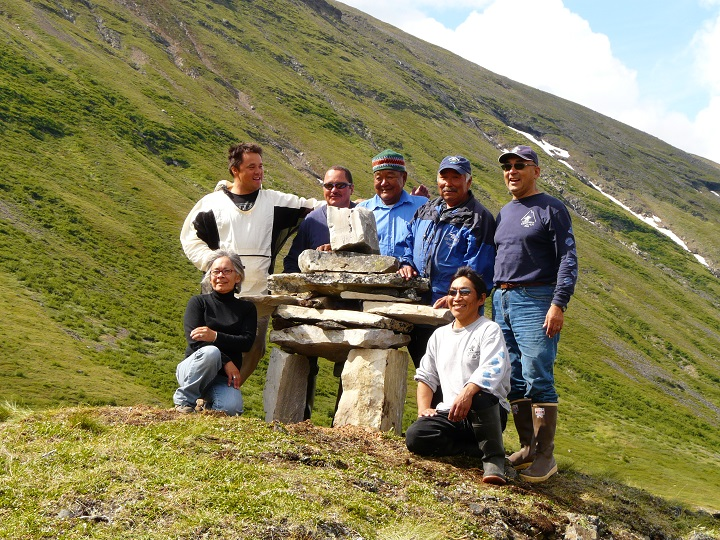 Cooperative Management Board for Torngat Mountains National Park of Canada during a ceremony in 2009 commemorating a traditional route along Nakvak Brook, which was used by Inuit travelling from Saglek Fiord to Ungava Bay. This all Inuit board advises Parks Canada on all aspects of the management of the park