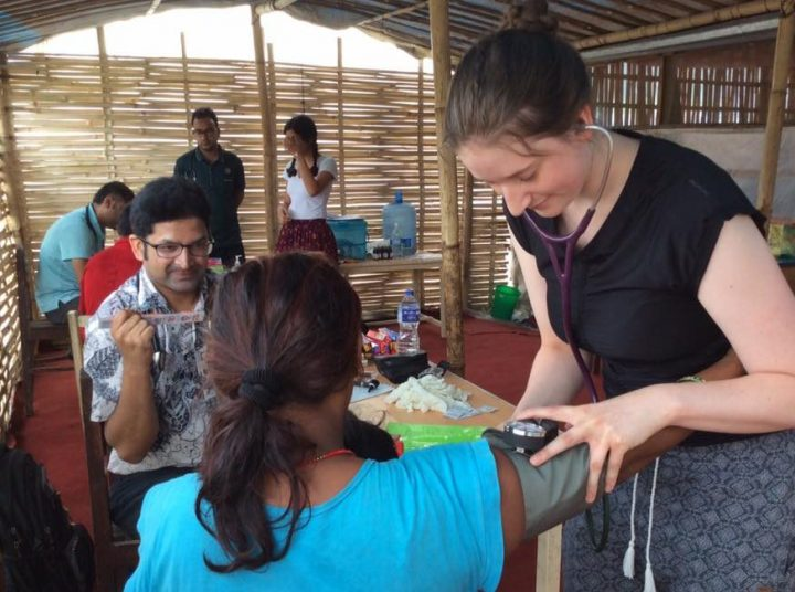 Memorial MD students working in a clinic in Nepal as part of the InSIGHT program
