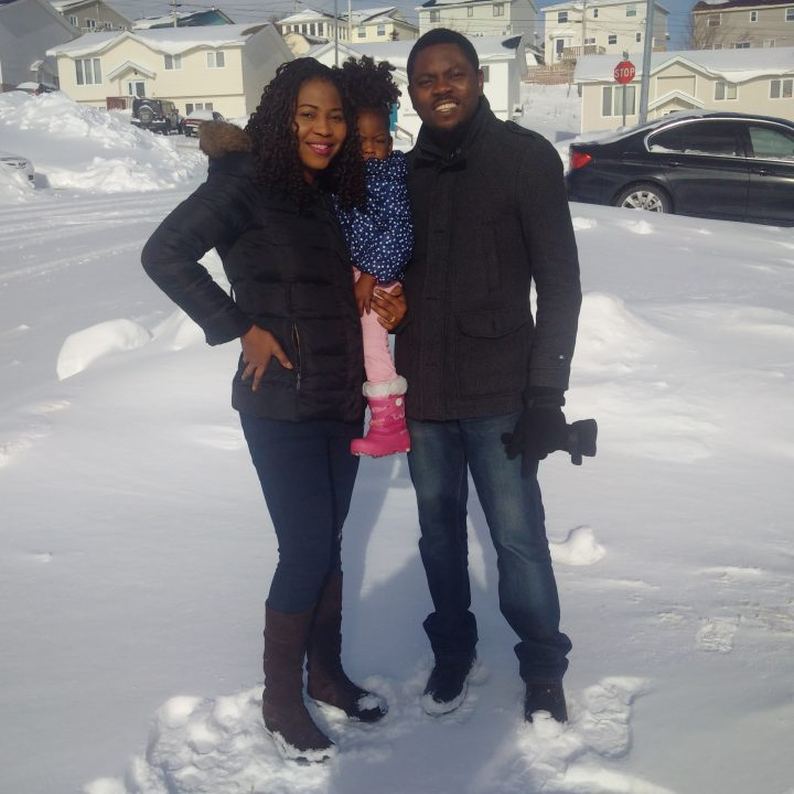 Faith, Daniella and Peter Ogban experience their first Newfoundland winter