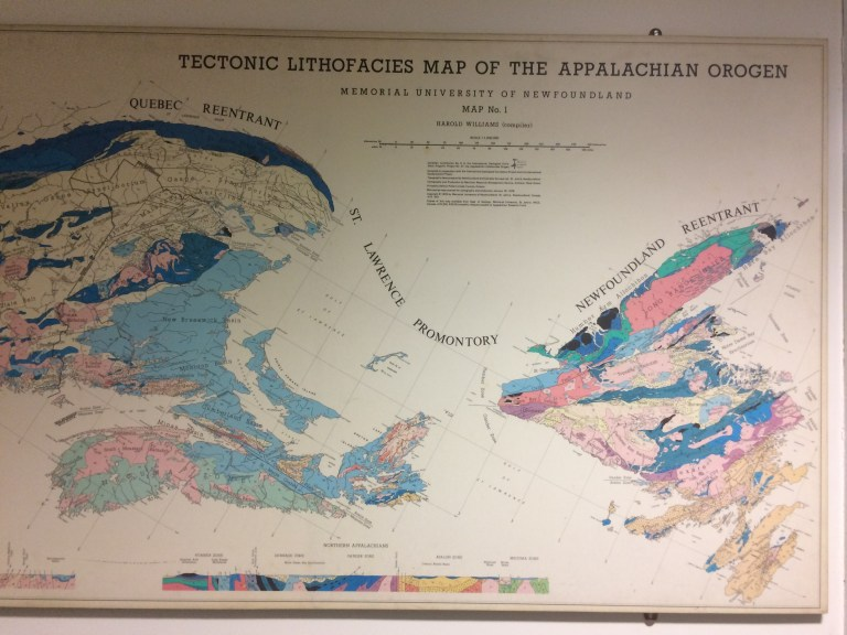 A map showing the Appalachian Mountain chain in Newfoundland.