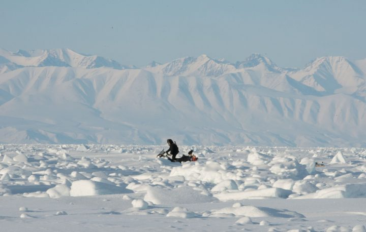 SmartICE community operator and Memorial University staff member Andrew Arreak surveys rough sea ice off Pond Inlet using the SmartQAMUTIK. SmartICE empowers northern communities through technology to adapt to unpredictable sea-ice conditions resulting from climate change.