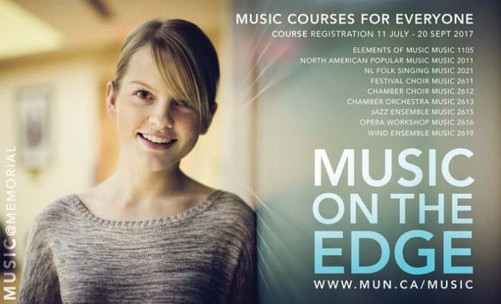 Picture of smling femaile student on banner from School of Music which highlights courses available to all students