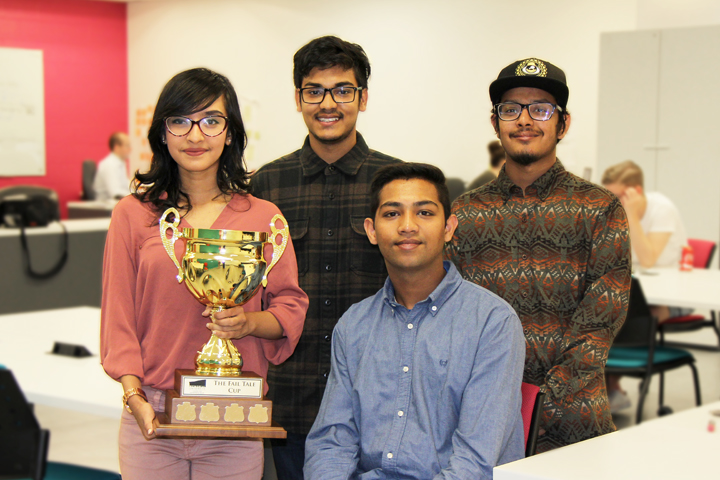 Business students Mehnaz Tabassum, Saif Amed, Mahmudul Islam Shourov and Adib Rahman pose with the Fail Tale Cup, which they won recently from the Memorial Centre for Entrepreneurship (MCE).