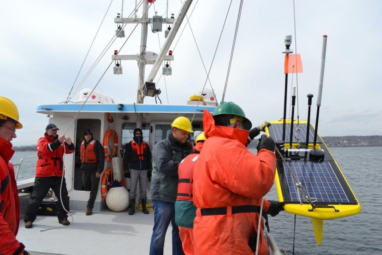 The OTN/MEOPAR glider crew deploys a Wave Glider on a mission in Atlantic Canada. OTN Slocum gliders collect an array of observations in the Northwest Atlantic and eastern Pacific