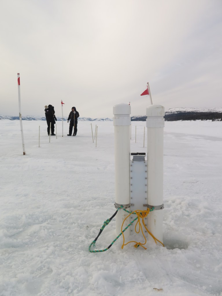 SmartICE's SmartSENSOR is seen here after deployment in Nain in 2016.