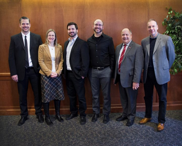 From left are Brent Miller, Suncor Energy; Dr. Penny Morrill, 2015 Terra Nova Young Innovator Award (TNYIA) recipient; Dr. Andrew Staniland and Dr. Michael Katz, recipients of the 2016 TNYIA; President Kachanoski; and Dr. Ray Gosine an recognition event at Memorial in January 2017.