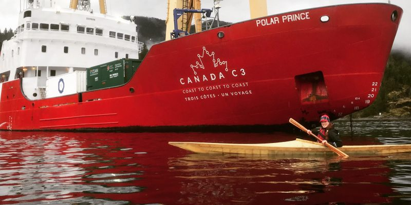 Anne Provencher St-Pierre, PhD Candidate in the Department of Ocean Sciences, Faculty of Science, took part in the Canada C3 voyage. Here, she is seen paddling in Desolation Sound, BC, beside the Polar Prince.