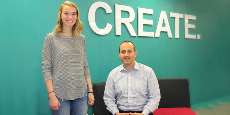 Anna Gosine, left, business lead for BlueBrick Learning, and Florian Villaumé, director, Memorial Centre for Entrepreneurship.