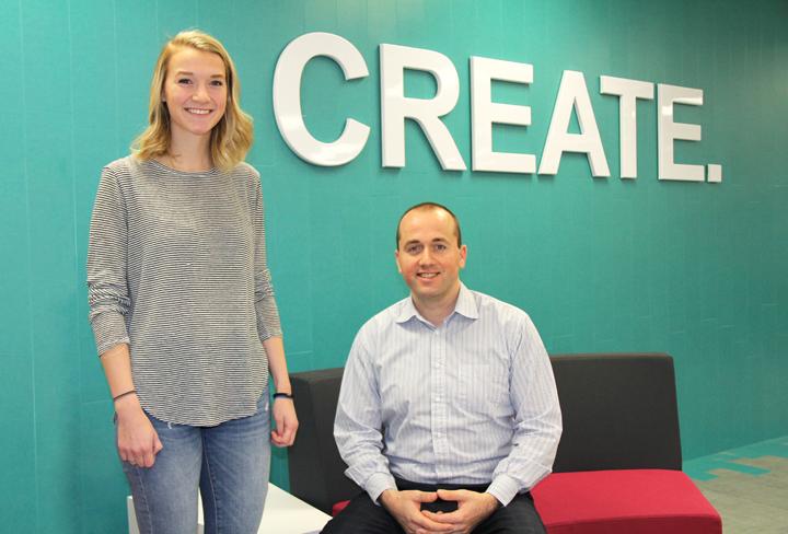 Anne Gosine, left, business lead for BlueBrick Learning, and Florian Villaumé, director, Memorial Centre for Entrepreneurship.