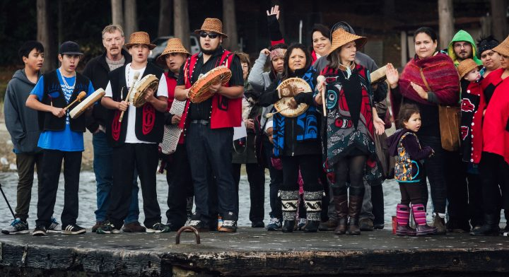 The welcoming songs of the Tla'amin Nation, as the participants arrived to shore in Powell River, BC.