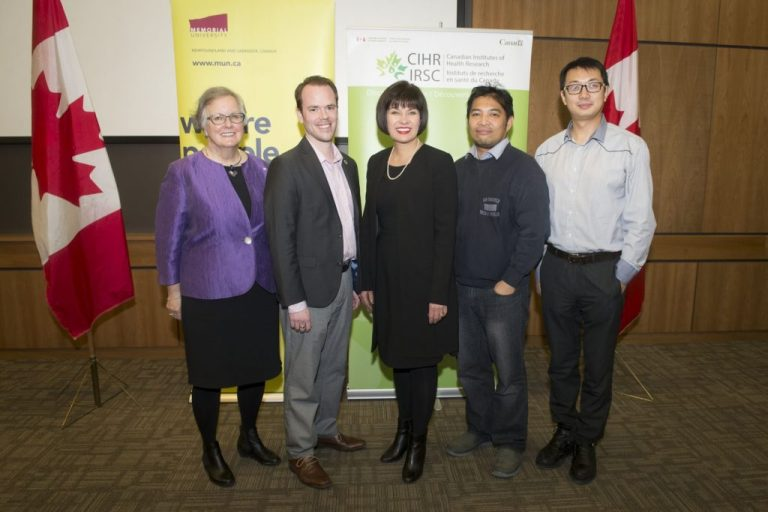 From left are Dr. Anne Martin-Matthews, Dr. Craig Moore, Minister Ginette Petitpas Taylor, Dr. Francis Bambico and Dr. Dake Qi at the funding announcement.