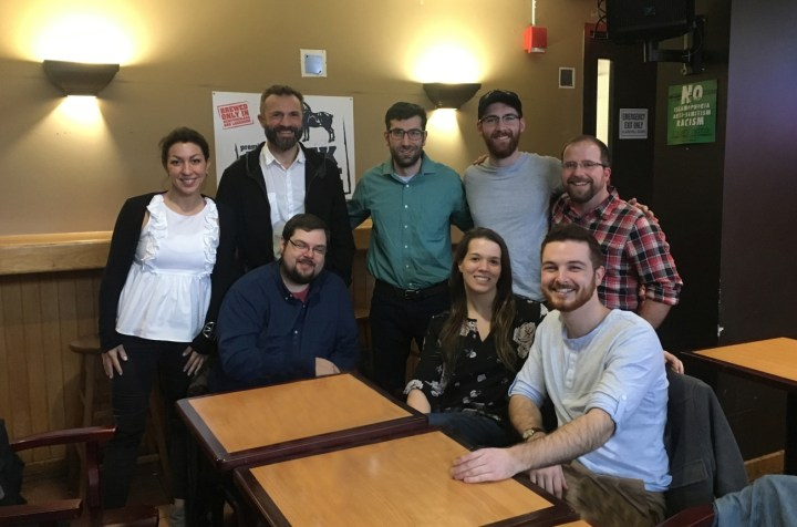 2.MUN Med 3D team in March 2018. Back row, from left: Christine Goudie, Dr. Adam Dubrowski, Michael Bartellas, Stephen Ryan, Greg Walsh. Front row, from left: Tybalt Lea (former intern student), Nicole Bishop, Travis Pickett.