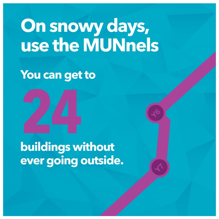 There are 24 buildings connected to the MUNnel system