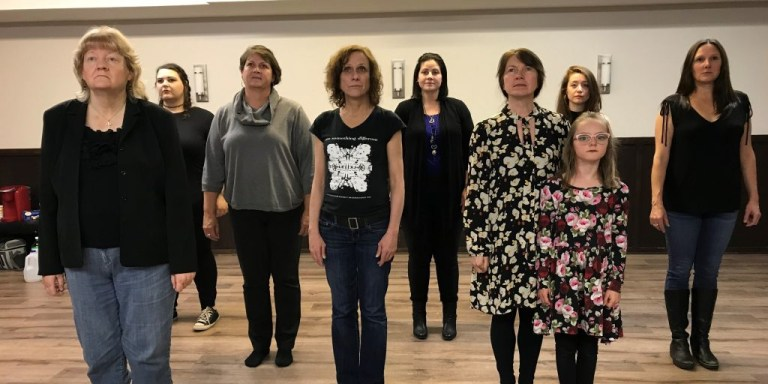 The Cut Of It cast from left: Mary Costello, Laura Bradley, Amy Kavanagh-Penney, Wendi Smallwood, Yolanda Bliss, Ruth Lawrence, Lily Halley-Green, Allison Kelly, and Alexis Koetting.