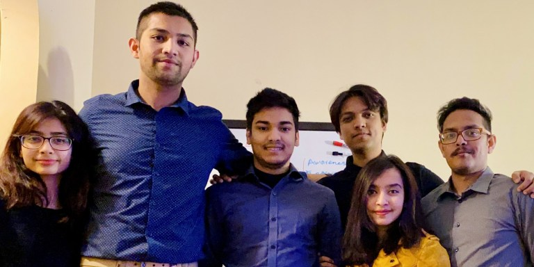 The Project Food for Thought NL team, from left are Fabiha Tarannum, Shourov Islam, Saif Ahmed, Sazied Hassan, Mehnaz Tabassum and Adib Rahman.