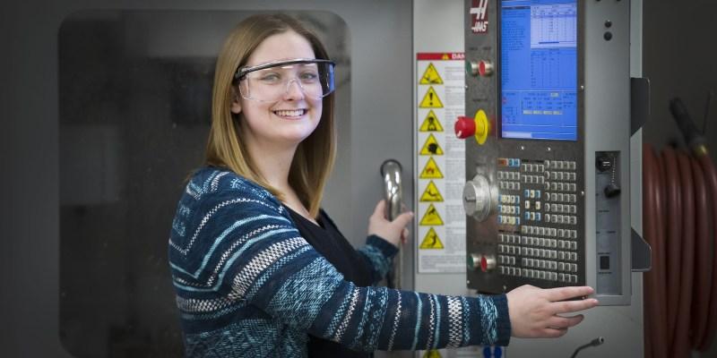 Undergraduate student in the lab.