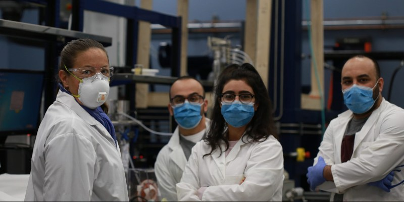From left are Dr. Lesley James, Shervin Ayazi, Fatemeh Goodarzi and Maziyar Mahmoodi. All are research engineers with the Hibernia EOR Research Group