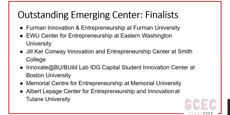 The MUN MCE was one of six finalists and the only Canadian team in the outstanding emerging center category.