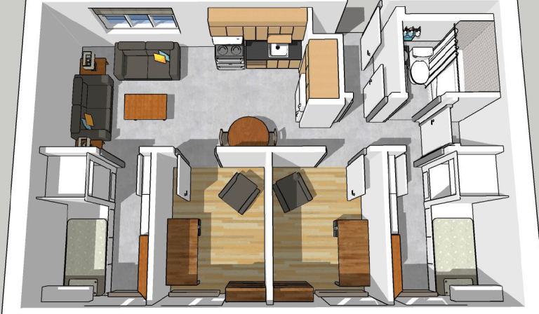 Interior rendering of a Burtons Pond apartment from above