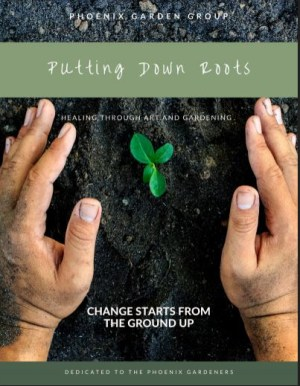 """A book cover with two hands cradling soil and and a seedling with """"Putting Down Roots"""" in text at the top."""