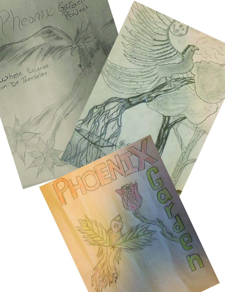 Three hand-drawn images based on the phoenix rising from the ashes symbol.