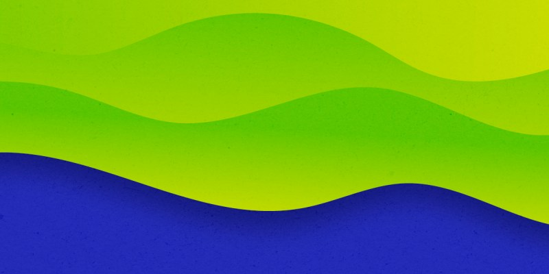 """Lime green and deep purple """"waves"""", with the green on top and purple on the bottom."""