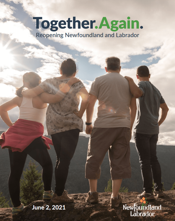 The cover of the Together Again plan, showing four people back on looking over the horizon
