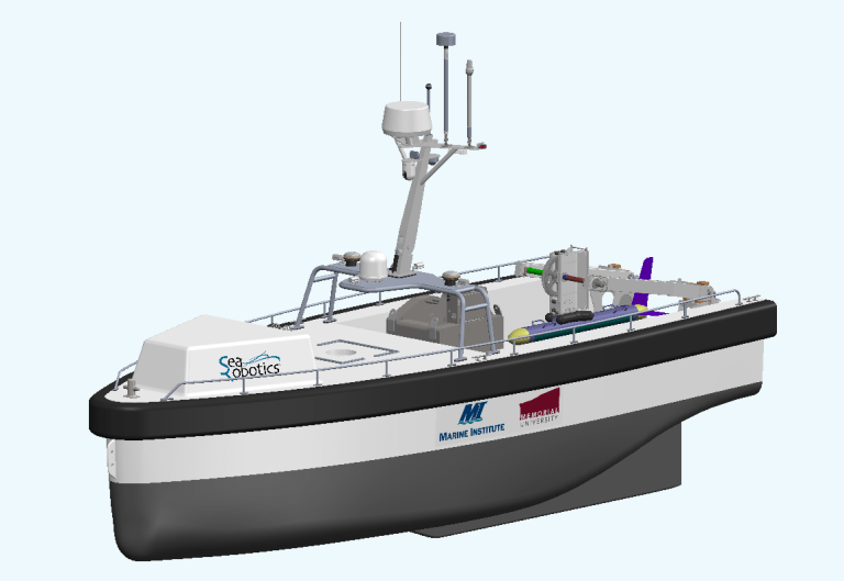 A rendering of a large research vessel with radar equipment and a large missile-shaped vehicle on the deck.