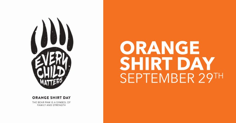 """On the left is a stylized illustration of a bear paw in black with """"every child matters"""" in white on the paw. Underneath is """"Orange Shirt Day, the bear paw is a symbol of family and strength"""" written in black. On the right is an orange square with """"Orange Shirt Day Sept. 29"""" in white letters."""