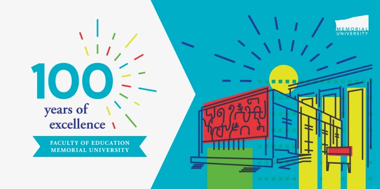 """The words """"100 years of excellence: Faculty of Education at Memorial University"""" are shown in different blues and colourful sparks around them on a white background on the left. On the right is a stylized illustration of the Education building with a blue sky and rising sun behind it."""