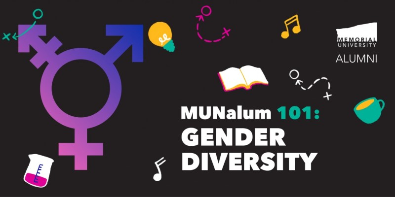 MUNalum 101 in white and green text with multicoloured icons around it on a black background.